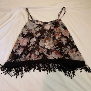 Wet Seal sheer floral top with tassels